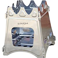 Lixada Camping Stove, Portable Folding Wood Stove Lightweight Stainless Steel Alcohol Stove for Outdoor Cooking Backpacking Stove