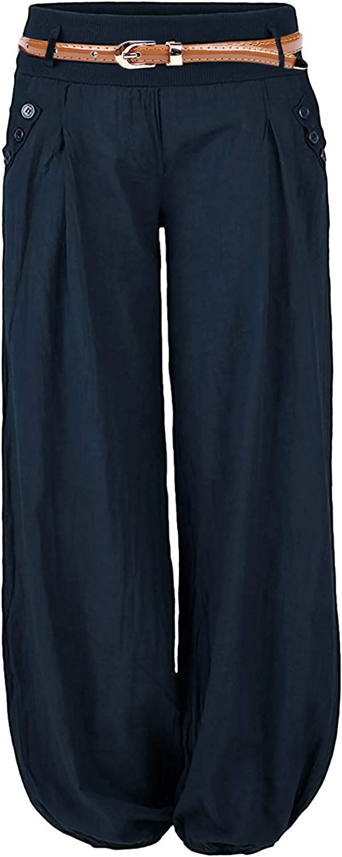 Aitos Womens Casual Plain Full Length Harem Trouser Pant with Belt