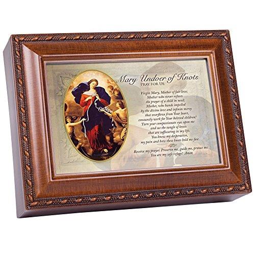 Pray Box - Cottage Garden Mary Undoer of Knots Pray for Us Wood Finish Jewelry Music Box Plays Ave Maria