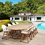 Amazonia Teak Amazonia Deluxe Hawaii White Wood/Resin 7-Piece Double Extendable Rectangular Patio Dining Set
