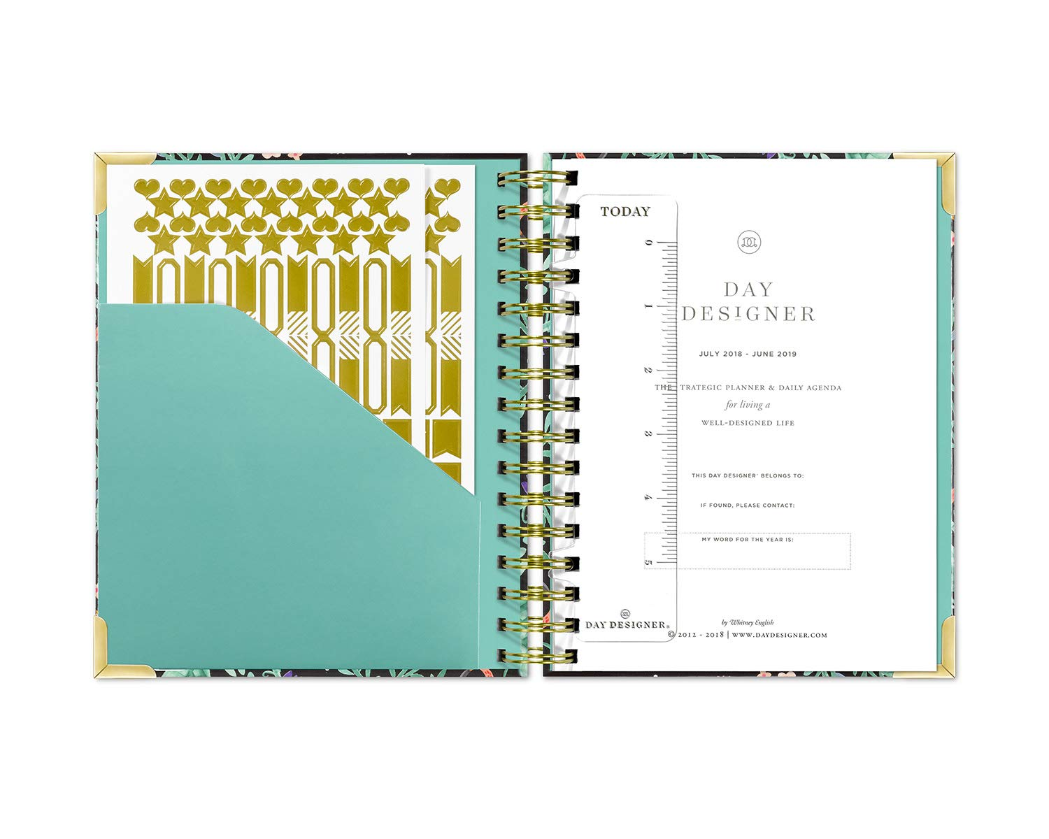 Day Designer 2019 Mini Daily Life Planner and Agenda, Hardcover, Twin-Wire Binding, 6.625