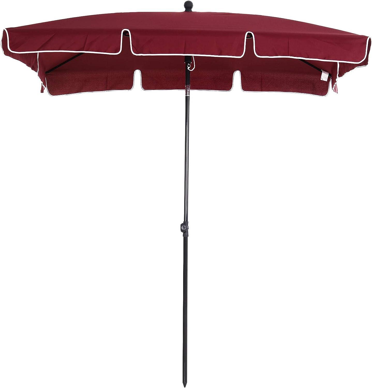 Outsunny Sombrilla Cuadrada Grande Parasol con Ángulo Ajustable para Patio Terraza o Jardín 200x125x235cm En Color Rojo Vino