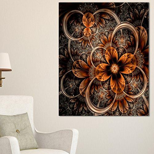 Designart PT11865-30-40 Dark Orange Digital Fractal Flower Large Floral Canvas Art Print, - Fractals Flowers Art