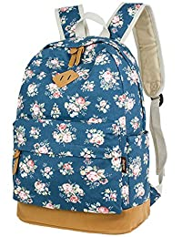 Leaper Cute Floral Canvas Backpacks Casual Style School Bags Shoulder Bags Travel Bags Floral Blue