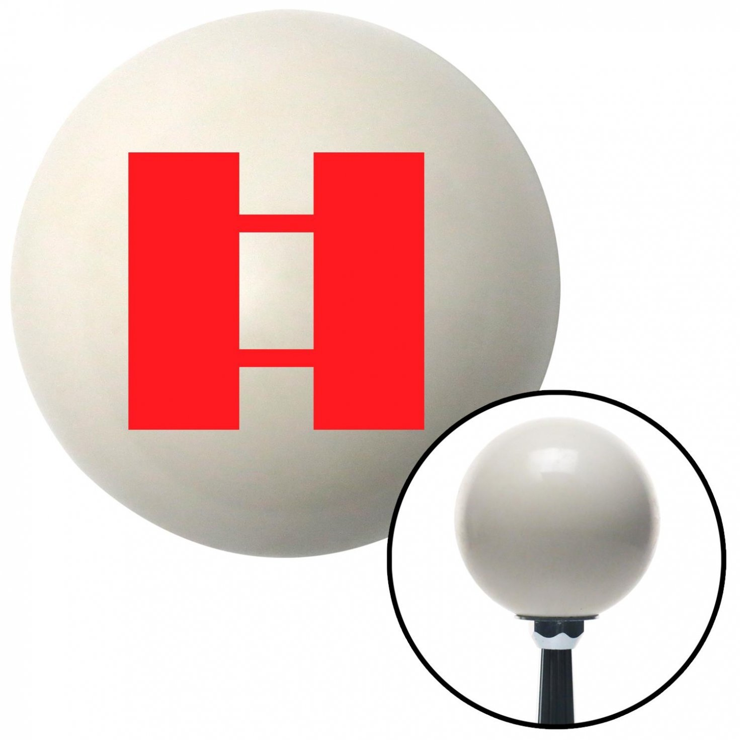 American Shifter 35605 Ivory Shift Knob with 16mm x 1.5 Insert Red Officer 03