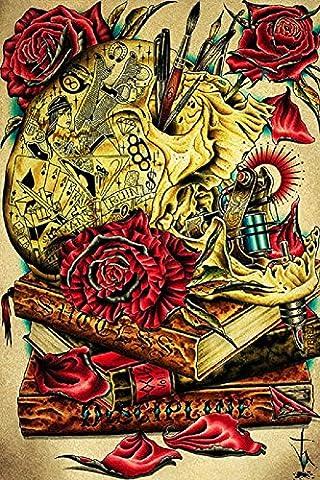 The Craft by Tyler Bredeweg Tattooed Skull w Tattoo Artist Gun Fine Art Print - Alternative Wall Art