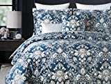 Tahari Bedding 3 Piece Full / Queen Duvet Cover Set Floral Medallion Pattern in Shades of Cream Beige Taupe with Silver Highlights on Dark Blue