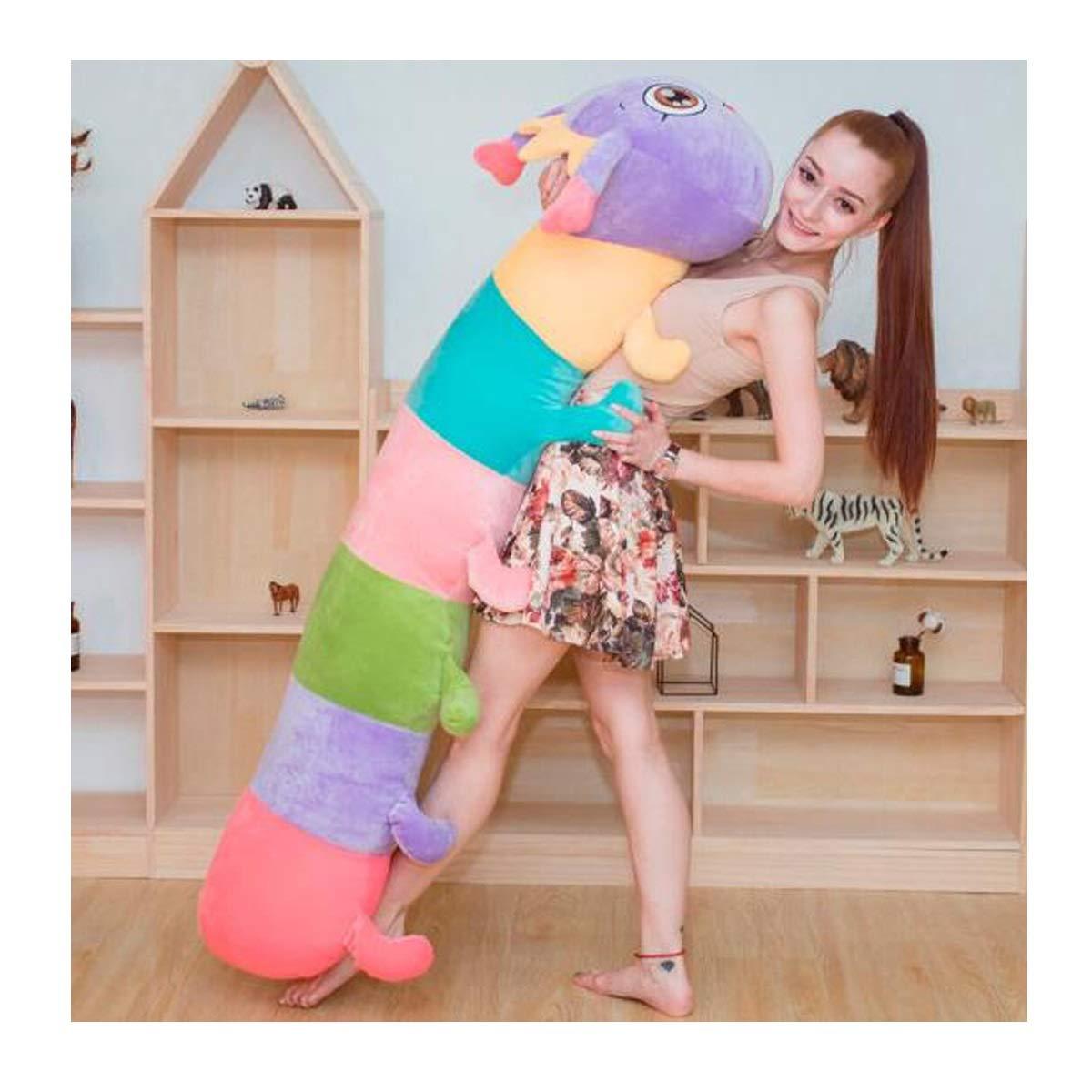 キャタピラー人形ぬいぐるみ人形人形人形生地大きな人形ライトパープル1.55 m ( Color : 紫の , Size : 90cm )