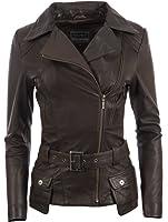 Donna Designer Ultra Elegante Super Morbido 100% Pelle Vera Giacca Di Biker Moda Con Cintura Da MDK