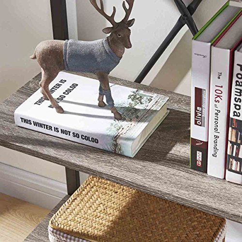 BON AUGURE 4-Shelf Open Narrow Bookshelf, Vintage Industrial Bookcase, Rustic Wood and Metal Shelf, Dark Oak