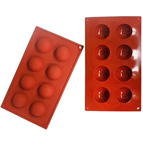 Baker Boutique 8-cavity hemisferio molde de silicona reutilizable antiadherente Chocolate Teacake sartenes mitad redonda