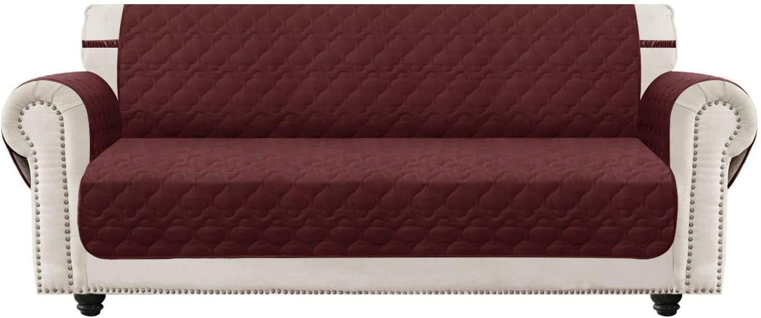 SUNNYTEX Waterproof Sofa Slipcover, Sofa Slipcover for 3 Cushion Couch Non-Slip Couch Cover Furniture Protector for Pets Children&Dog(Sofa,Burgundy)