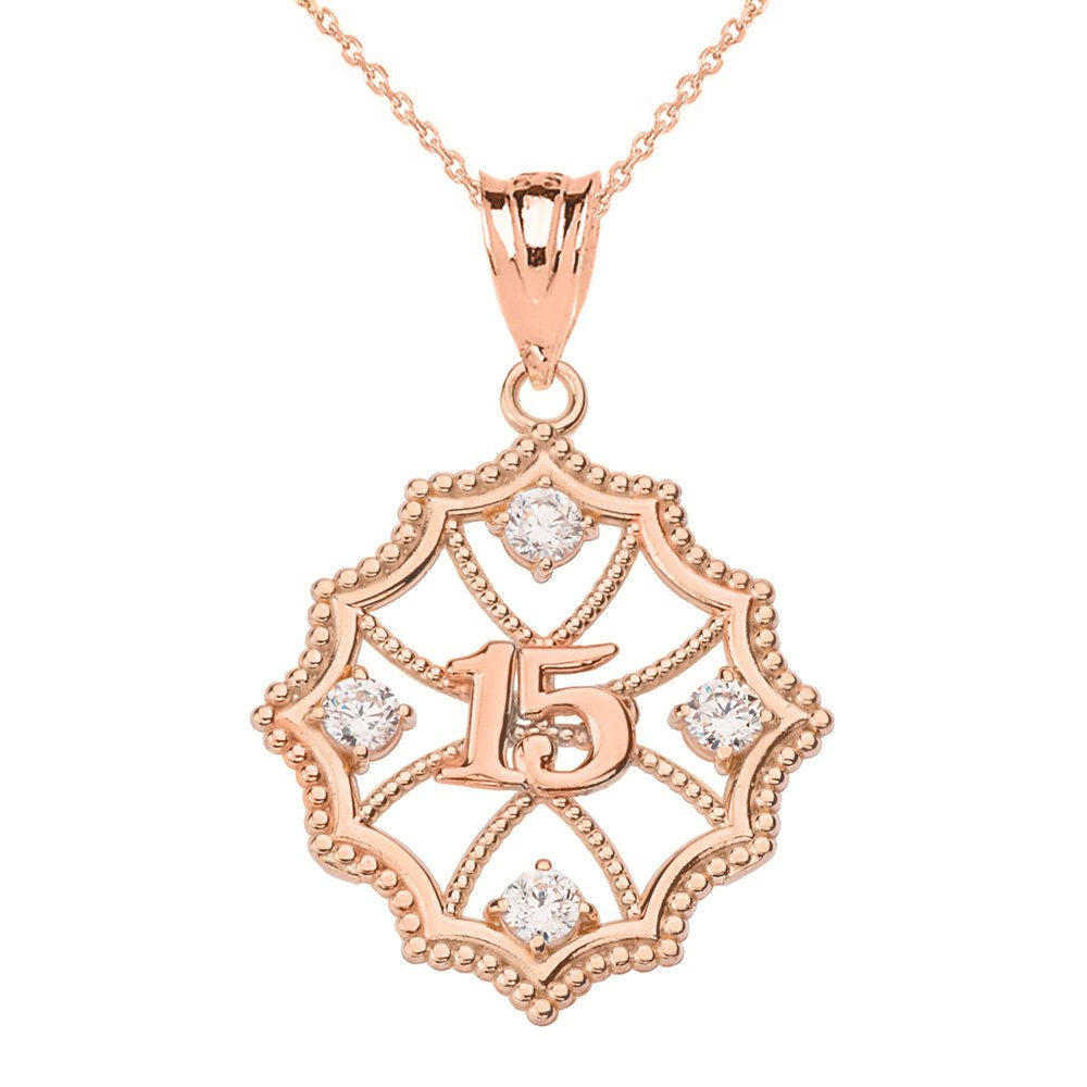 10k Rose Gold Beautiful Filigree Design 15-Anos Quinceanera Pendant Necklace