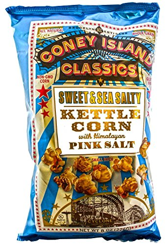(Coney Island Classics Popcorn, Sweet & Sea Salty Kettle Corn With Himalayan Pink Salt, 8 Ounce Bags (6 Pack))