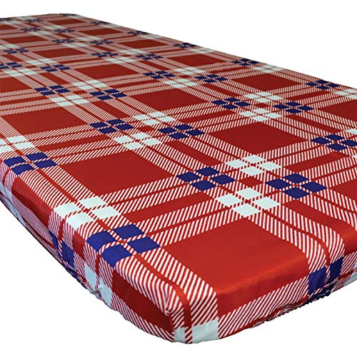 In the Breeze 8002 Plaid 30 Inch x 72 Inch Fitted Tablecloth, 30in x 72in (6ft),