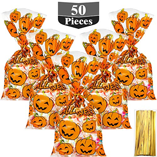 Halloween Treat Bag Tags (HESTYA 50 Counts 15 x 25 cm Flat Clear Cellophane Treat Bags Block Bottom Pumpkin Halloween Patterned Storage Bags Sweet Bags with 300 Pieces Twist Ties for Halloween Christmas Party)