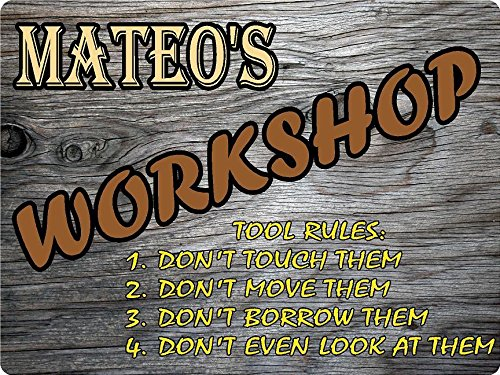 MATEO Workshop tool rules wood effect design décor sign 9