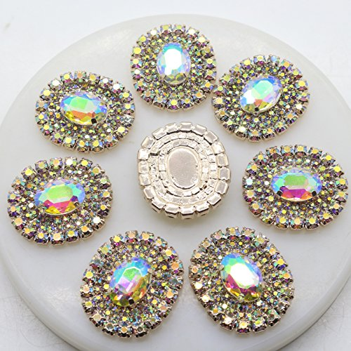 XINXI 30mmX25mm AB Crystal Floriated Brooches Flatback Buttons Collar Pin Corsage Bouquet Kit Pack of 10 ()