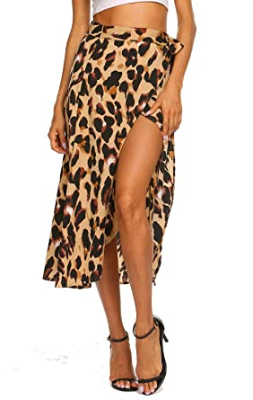 57549e1ed049 Leopard Cover Up Skirts for Swimwear Women Tie Up Waist Beach Wrap Skirt (S,
