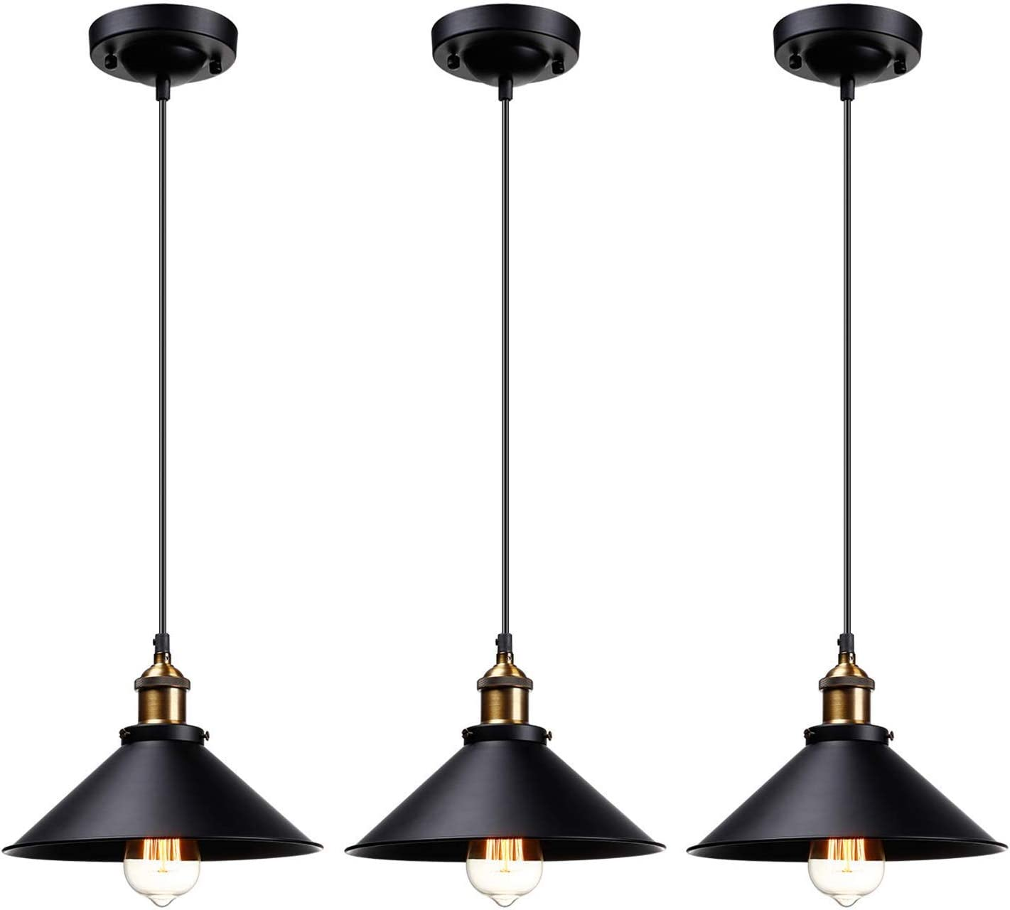 LEONLITE Industrial Hanging Pendant Light, Rustic Farmhouse Style, 10 Inch Matte Black Metal Shade, Retro Vintage Hanging Light, for Dining Room, Bars, Warehouse, E26 Base, UL Certified, Pack of 3