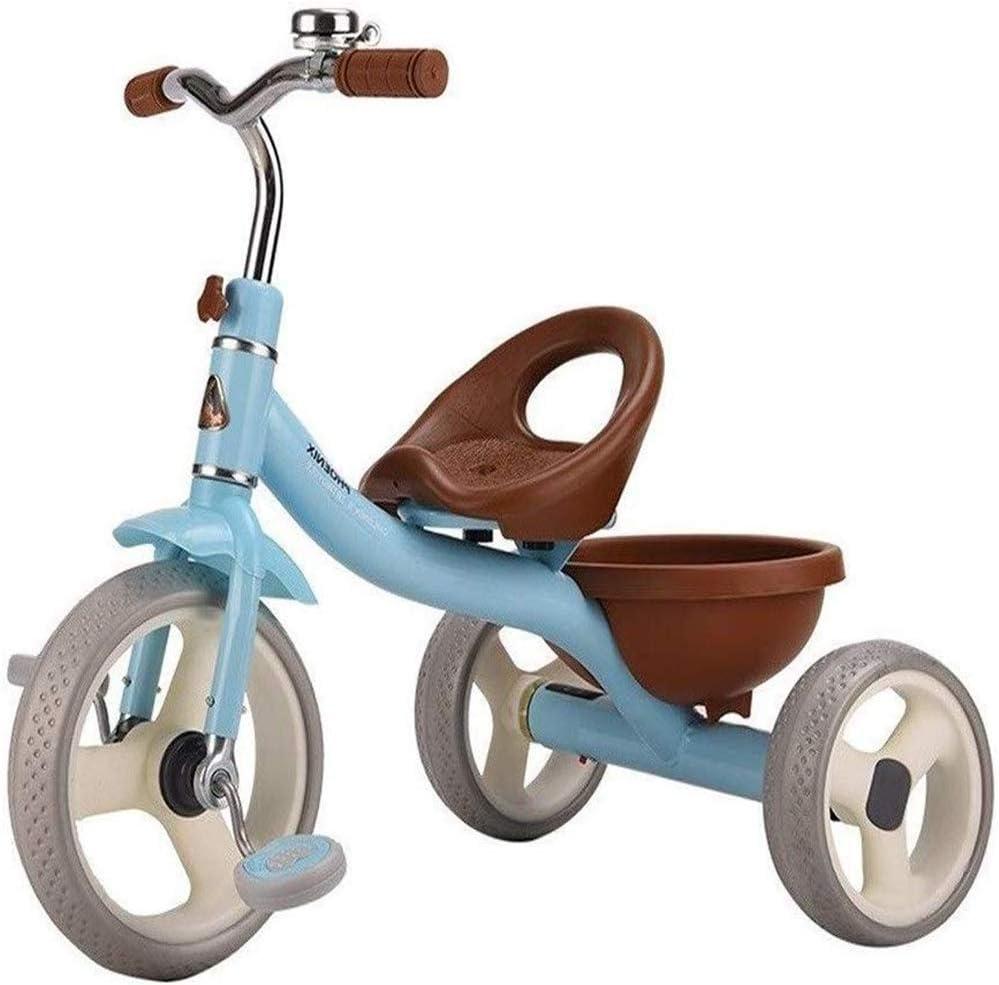 Triciclo Luz Cabrito Cochecito del Triciclo Niños multifunción Bicicleta 1/2/3/4/5/6 Años de Edad niños 2 Color,Azul