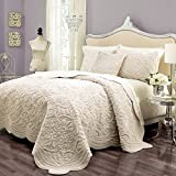 3 Piece Trendy Ivory White Queen Coverlet Set, Damask Pattern Themed Bedding Solid Stylish Chic Modern Elegant Casual Geometric Soft Beautiful Plush Faux Fur Warm Cozy, Polyester