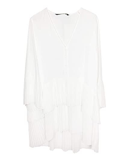 43c48d2a386d40 Zara Women's Contrasting Pleated Blouse 2731/243 Off-White: Amazon ...