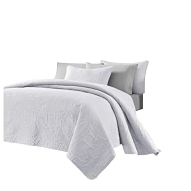 Chezmoi Collection Austin 3-Piece Oversized Bedspread Coverlet Set (Queen, White)