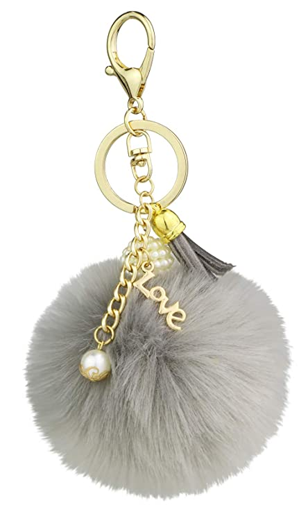 Amazon.com  Key Chain Accessories for Women - Grey Faux Fur Ball ... 5f3348bec4