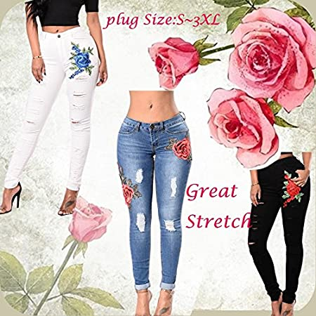 5aa64802a33 Women fashion Plus Size Flower Patch Ripped white Jeans great stretch joni pants  fashion high waist