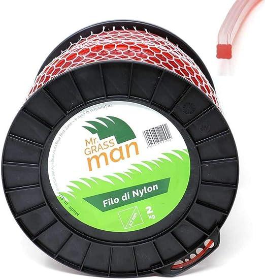 Mr. Grass Man - Hilo desbrozadora de Nailon, sección Cuadrada, 2 ...