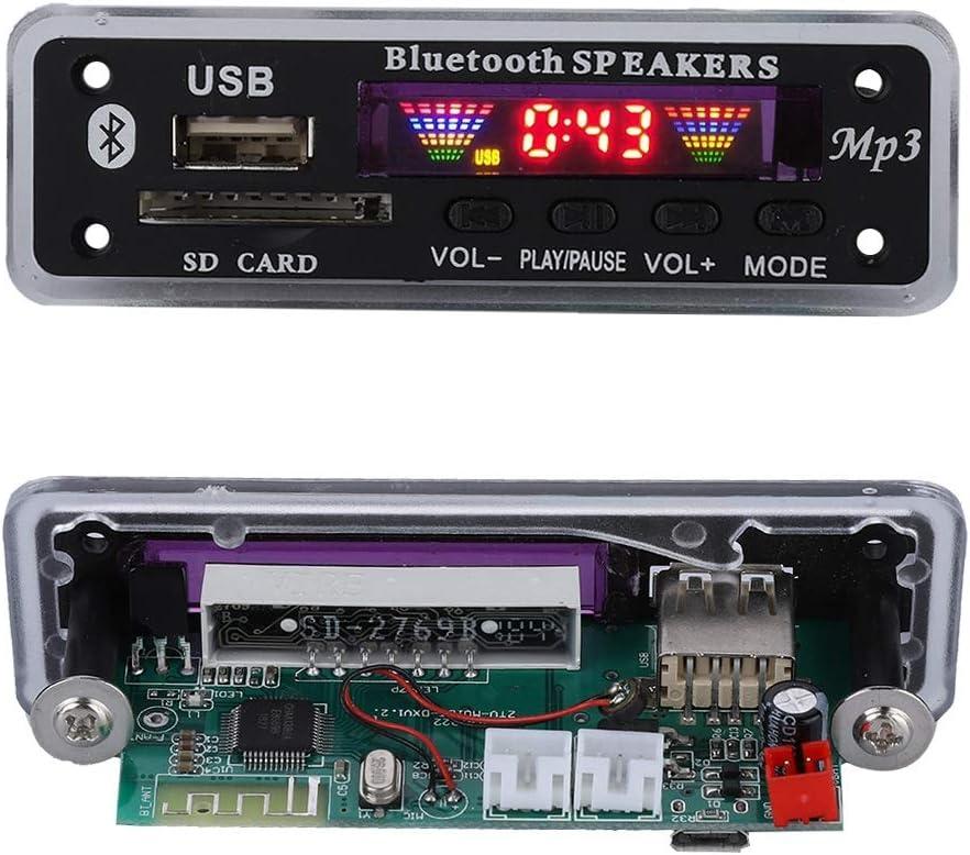 Noir Carte de D/écodage Carte de D/écodeur sans Fil Bluetooth 5.0 MP3 WMA Autoradio FM Module Support USB Carte SD avec T/él/écommande.