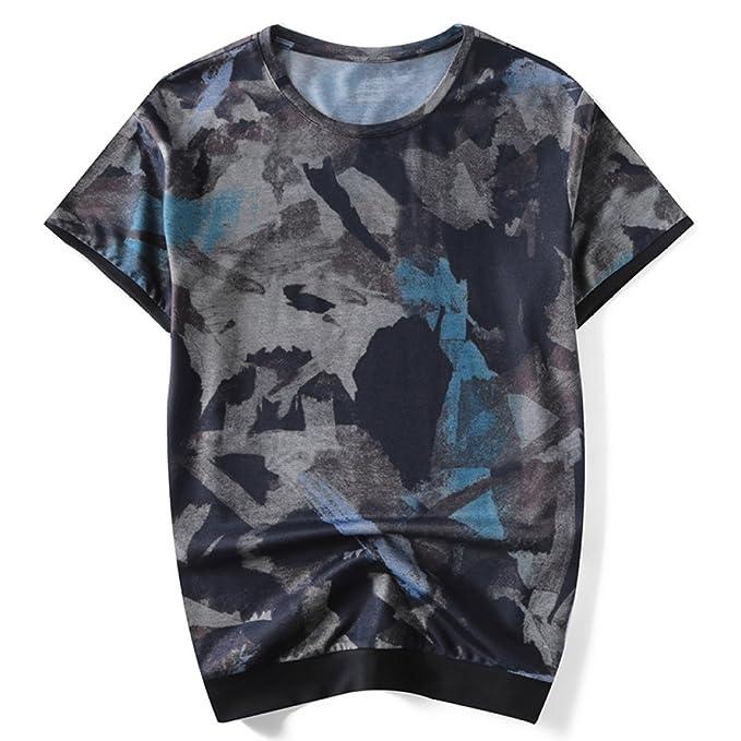 Camiseta De Verano De Manga Corta para Hombre Camiseta De Cuello Redondo  Estampada Casual Top Camiseta Transpirable Suave 2aa4f22fcbb24