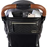 Itzy Ritzy Adjustable Stroller Caddy - Stroller Organizer Featuring Two Built-in Pockets, Front Zippered Pocket & Adjustable Straps to Fit Nearly Any Stroller, Black with Gold Hardware