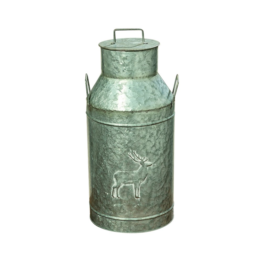 Whole House Worlds The Farmer's Market Creamery Milk Can, Galvanized Metal, Detachable Lid with Handle, Deer Decoration, Bevel Details, 8 1/4 Diameter, 19 1/4 Inches Tall, By