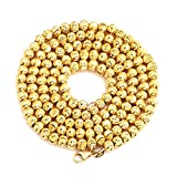 """LOVEBLING 10K Yellow Gold 4mm Italian Moon Cut Bead Chain Necklace Lobster Lock (18"""" to 30"""")"""