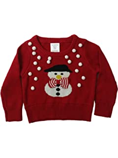 Infant Toddler Girls Red Knit White Pom Pom Snowman Pullover Chirstmas Sweater