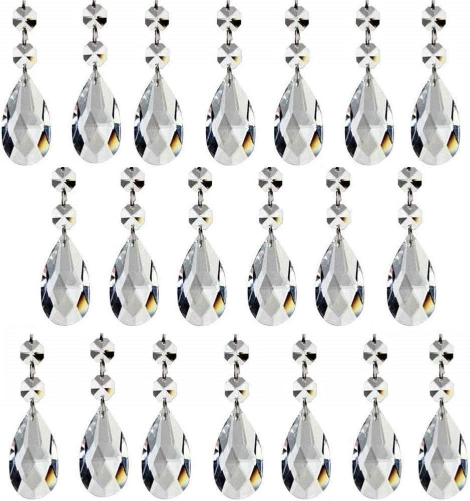 20 Piezas De Pendientes Cristal De Las Gotas Prismáticas De La Lámpara De La Lágrima Adornos de Cristales para Lamparas, 38mm