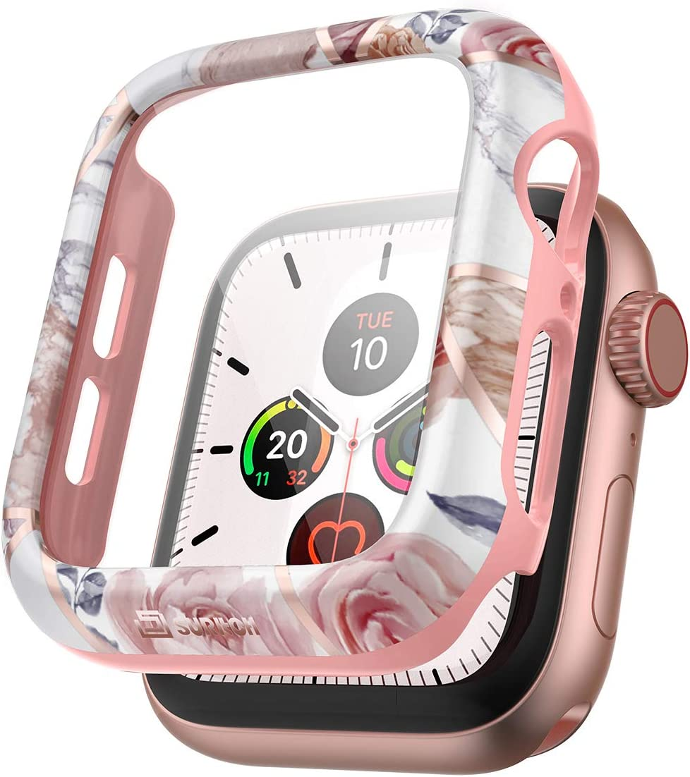SURITCH Case for Apple Watch Series 6/5/4/SE 44mm with Built in Tempered Glass Screen Protector HD Clear Shockproof Slim Bumper Hard PC Full Protective Cover for iwatch Series 6/5/4/SE(Rose Marble)