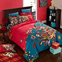 Peacock Reactive Print Comforter Bedding Set,Twin Queen King Size,100% Cotton Bedding Set,Charming Fashion Home Textile (US QUEEN)