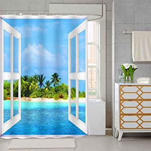 SDDSER Turquoise Window View Shower Curtain Tropical Palm Trees on Island Ocean Beach Decor Bathroom Curtain for Kids, 72 x72 in Bathtub Showers Waterproof Fabric with 12 Hooks YLLSSD350