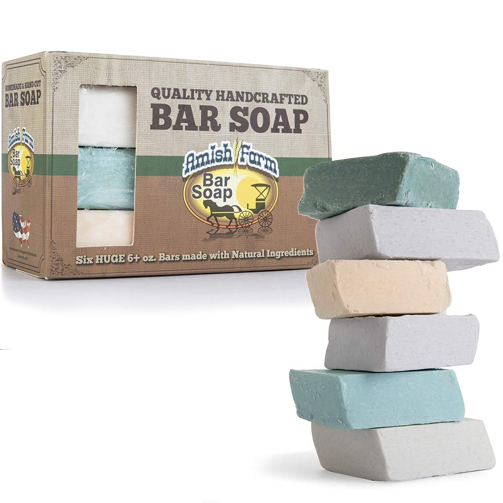 Amish Farms Handmade Bar Soap, Natural Ingredients, Cold Pressed, Carcinogen Free, 6 Ounce - 6 Pack Gift Box (6 Bars) 779205470276