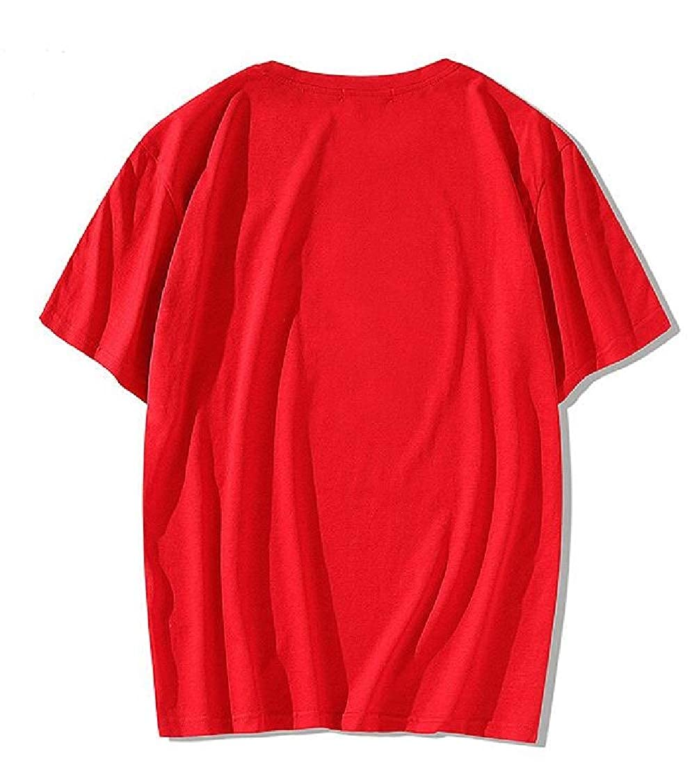 Etecredpow Mens Hipster Top Short Sleeve Print Tee Letter T-Shirts