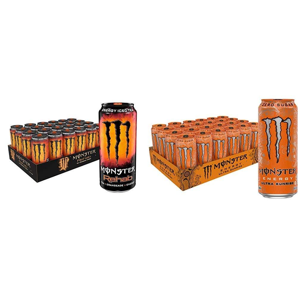 Monster Rehab Tea + Orangeade + Energy, Energy Iced Tea, 15.5 Ounce (Pack of 24) & Monster Energy Ultra Sunrise, Sugar Free Energy Drink, 16 Ounce (Pack of 24)
