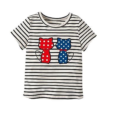 Milkiwai Niños pequeños Camiseta Gatos Patrones de Dibujos ...
