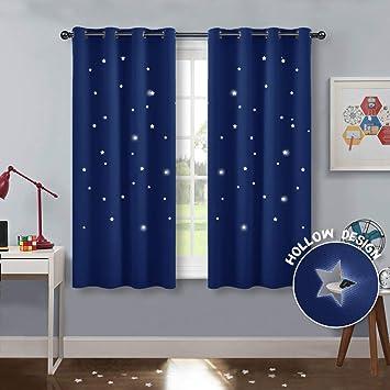 PONY DANCE Kinder Vorhang Schlafzimmer - Kurze Gardinen Blickdicht  Dekoschal Gardine mit Ausgehöhlten Sternen Vorhänge Ösenschal, 2er Set H  137 x B ...