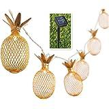 BIMEE Pineapple Solar String Lights 15ft 20 LEDs Waterproof Solar Powered Fairy String Lights Hanging Lights for Outdoor Gard