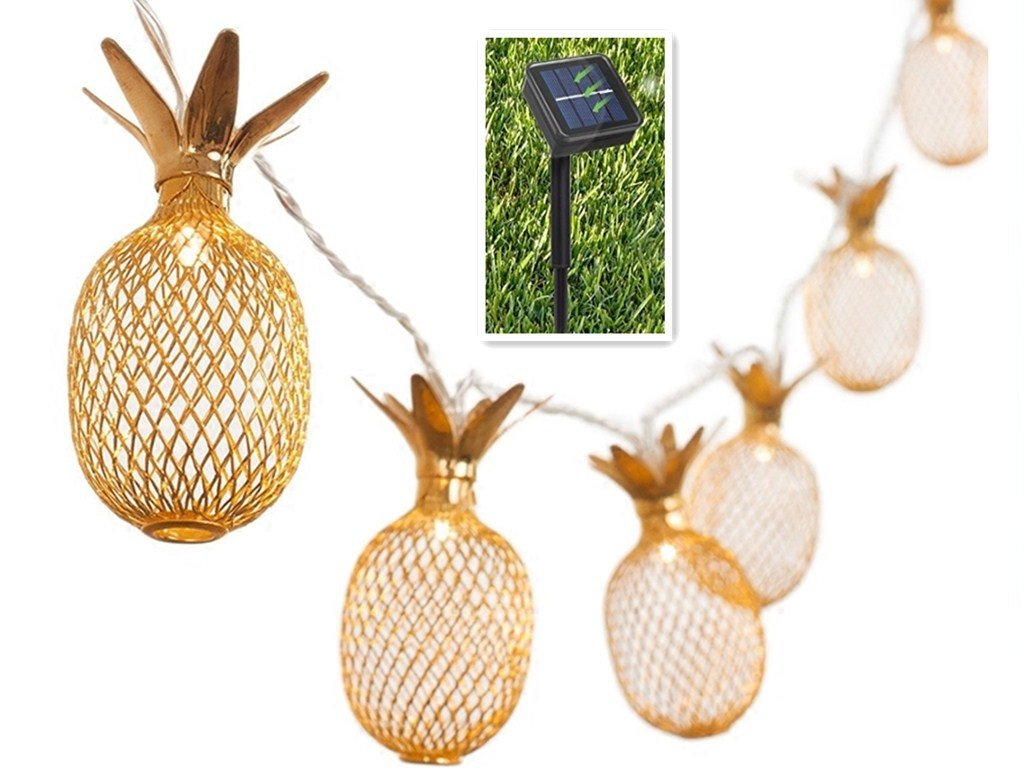 BIMEE Pineapple Solar String Lights 15ft 20 LEDs Waterproof Solar Powered Fairy String Lights Hanging Lights for Outdoor Garden Patio Landscape Home Wedding Birthday Party Decoration (Warm White)