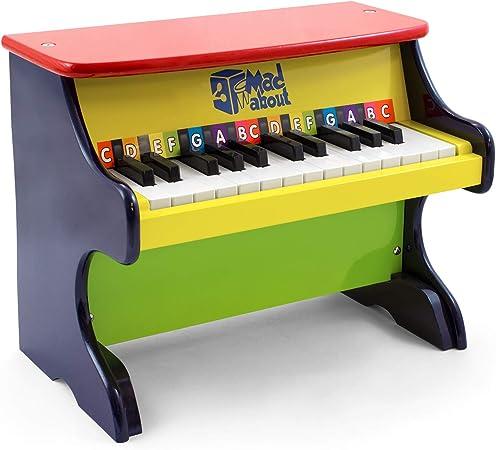 Mad About MWP-CL Piano de juguete de madera para niños - 25 teclas codificadas por colores - Dos octavas con libro de canciones