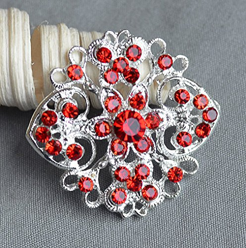 5 Ruby Red Siam Red Rhinestone Button Crystal Embellishment Wedding Brooch Bouquet Cake Hair Comb Shoe Clip Supply BT507 (Siam Clip)